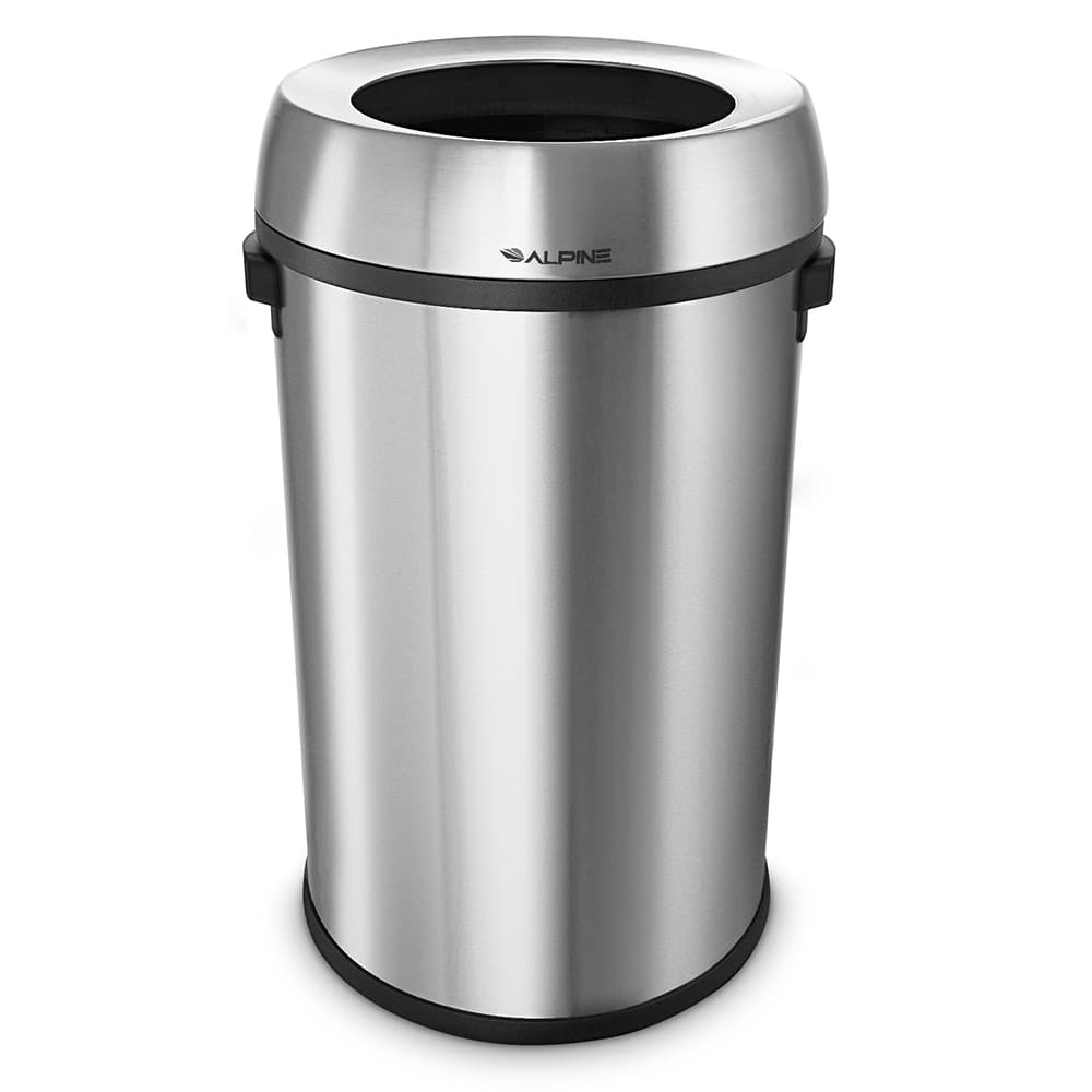 Alpine Industries 470-65L 17 gal Indoor Decorative Trash Can - Metal, Stainless Steel