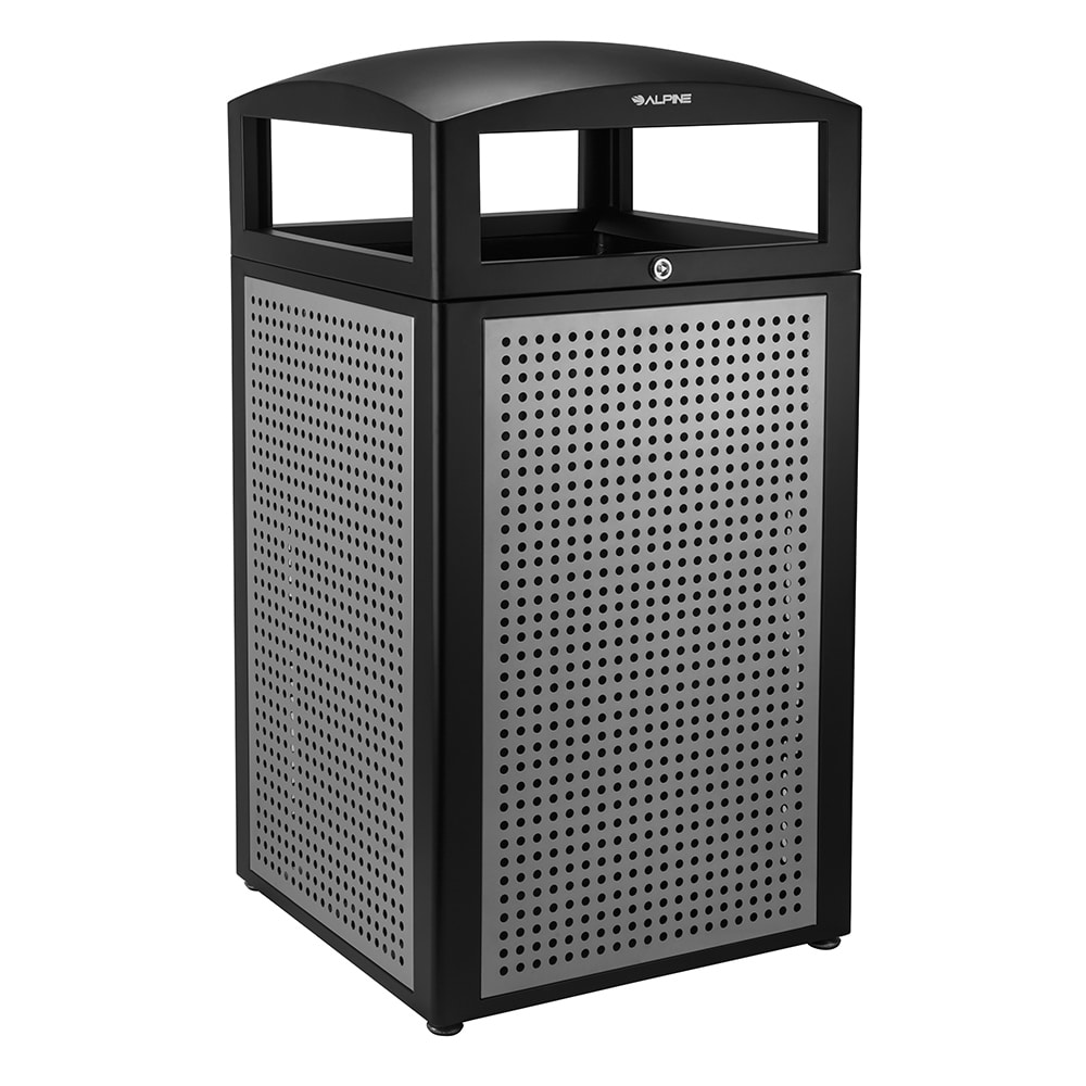 Alpine Industries 471-40-SIL 40 gal Outdoor Decorative Trash Can - Metal, Silver