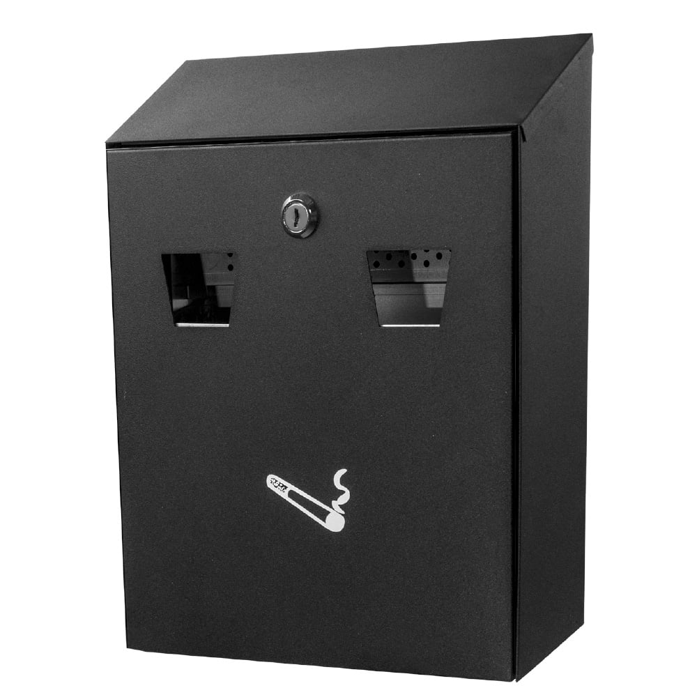 Alpine Industries 490-01-BLK Wall-Mount Cigarette Receptacle - Outdoor Rated