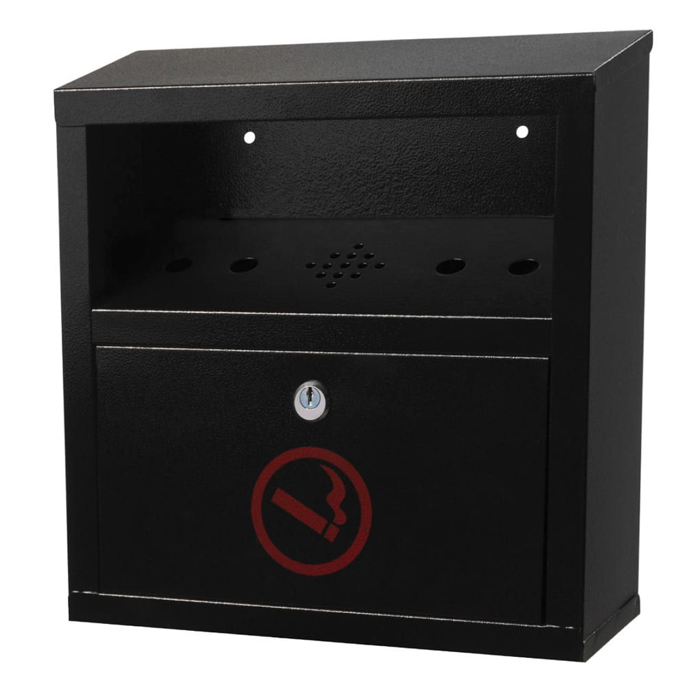 Alpine Industries 490-02-BLK Wall-Mount Cigarette Receptacle - Outdoor Rated