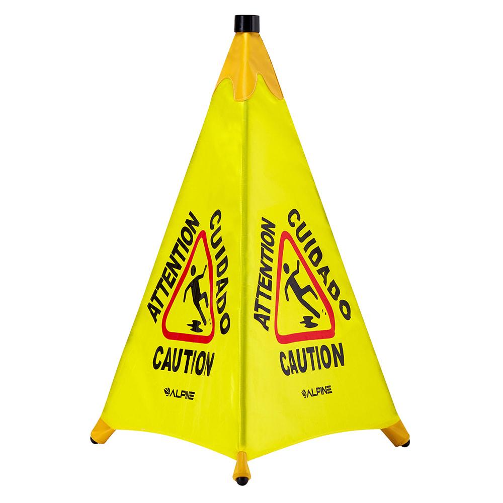 """Alpine Industries 498-30 33"""" Pop-Up Wet Floor Sign - Polyester, Yellow"""