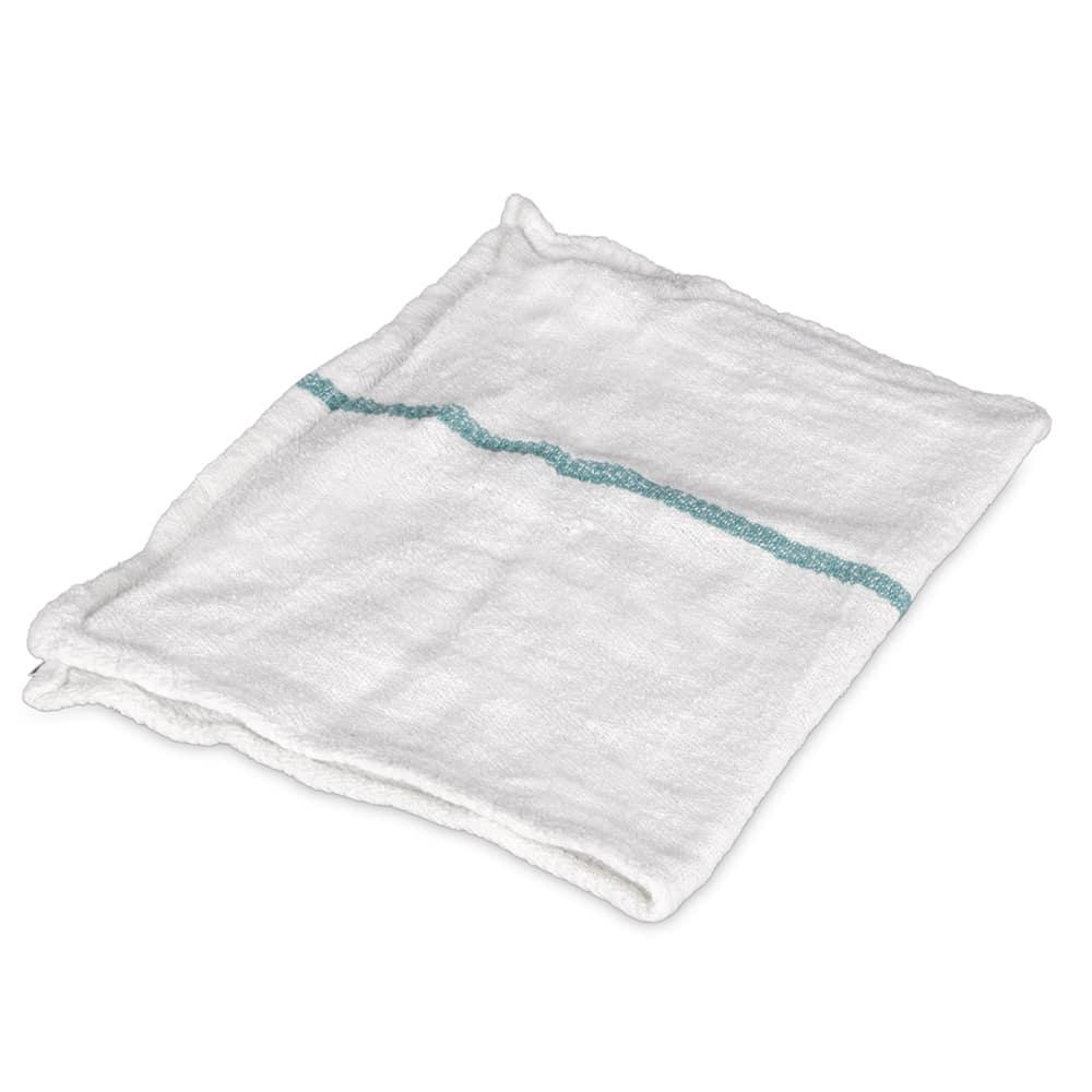 "Clean Up CHB1525GN Herringbone Towel - 15"" x 25"", Cotton, White w/ Green Stripe"