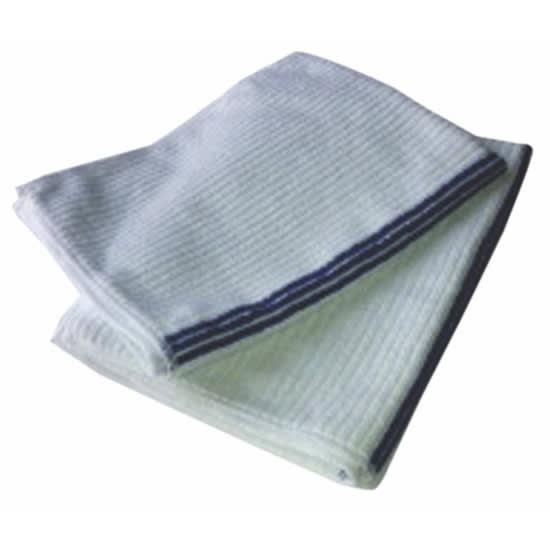 "Clean Up MFBM1418WH Ribbed Bar Towel - 14"" x 18"", White w/ Blue Stripe"