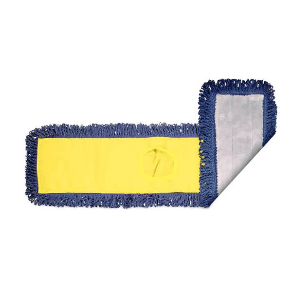 """Clean Up MFDM24YL 24"""" Pocket Dust Mop Head Only - Gray/Navy w/ Yellow Canvas Back"""