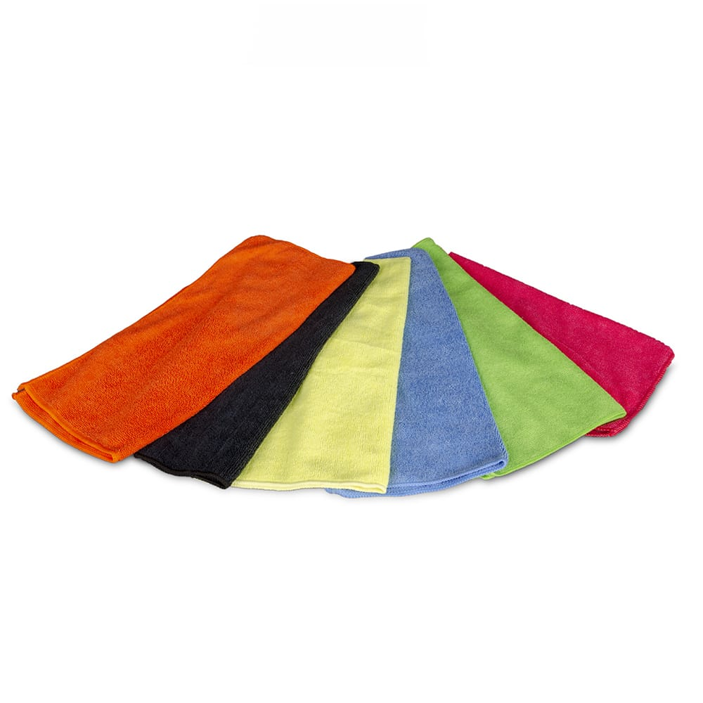 "Clean Up MFMP16BK 16"" Square Multi-Purpose Towel - Microfiber, Black"