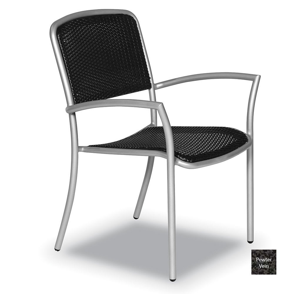 Wabash Valley HA9110P PV Stackable Arm Chair w/ Powder Coating, Black Weave