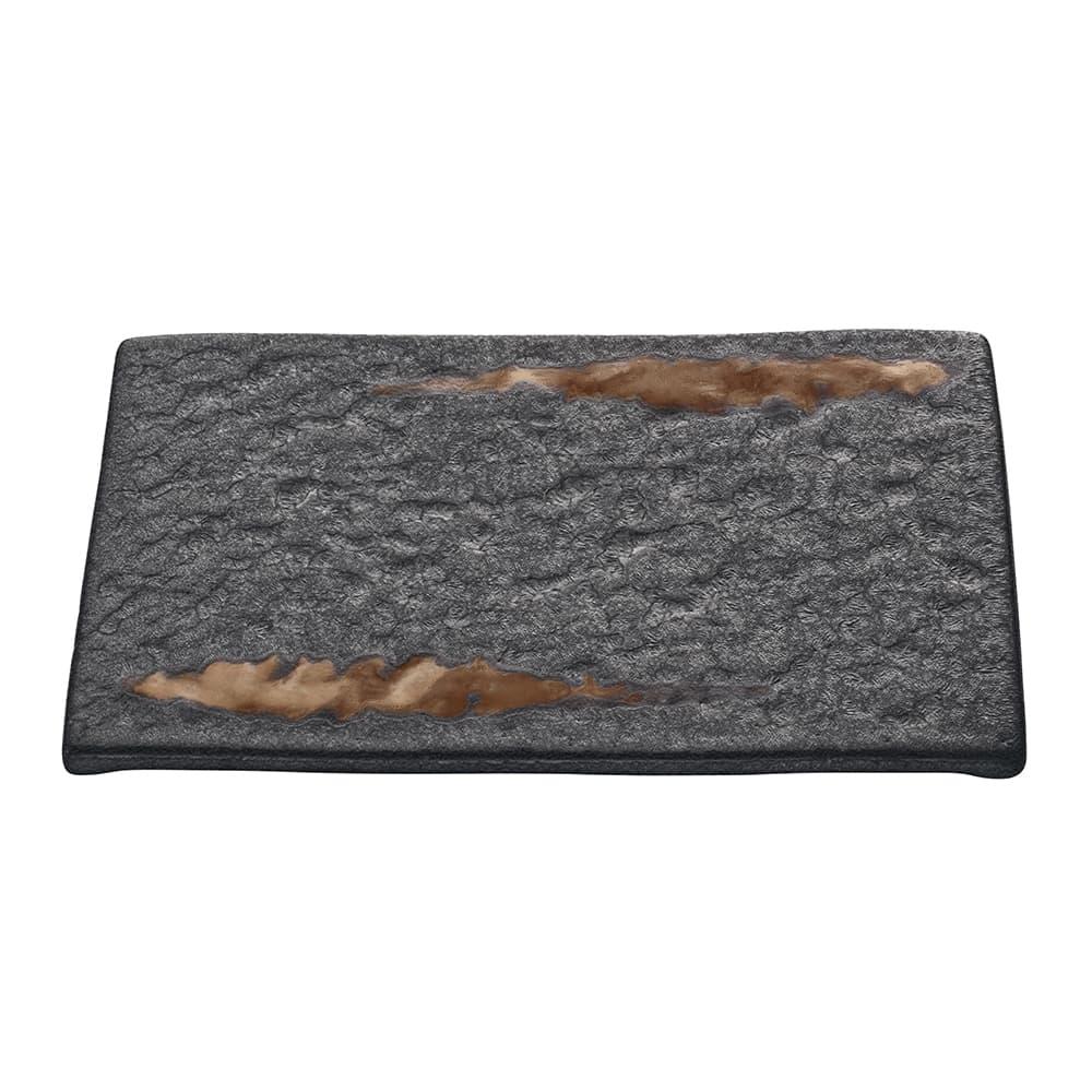 "Schonwald 701211891000593 Rectangular Playground Platter - 7"" x 4.75"", Stoneware, Lava"