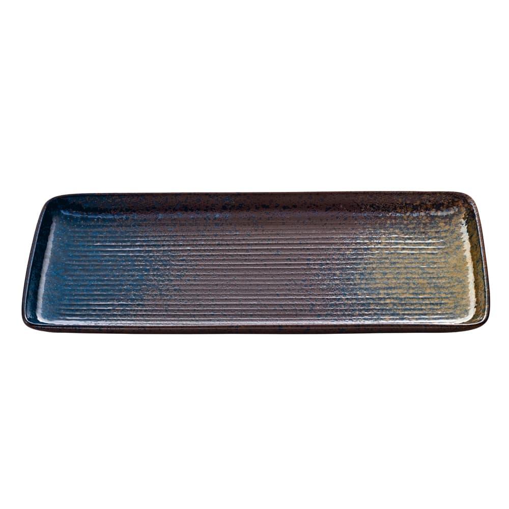 "Schonwald 701212291000351 Rectangular Playground Platter - 8.63"" x 3.87"", Stoneware, Iridescent Sea"
