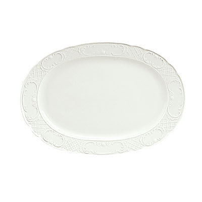 "Schonwald 9062033 Oval Marquis Platter - 13"" x 9.25"", Porcelain, Continental White"