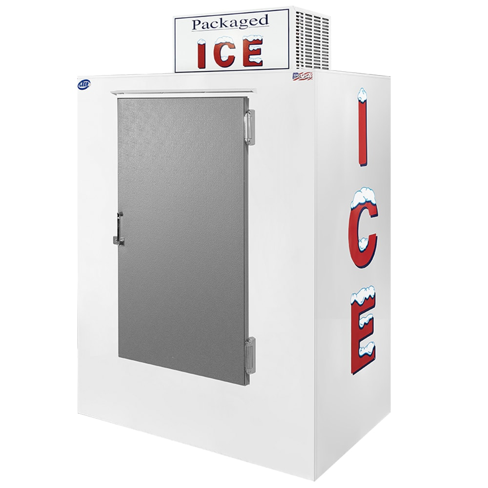 "Leer, Inc. L040UASE 50.5"" Outdoor Ice Merchandiser w/ (80) 10-lb Bag Capacity - White, 120v"