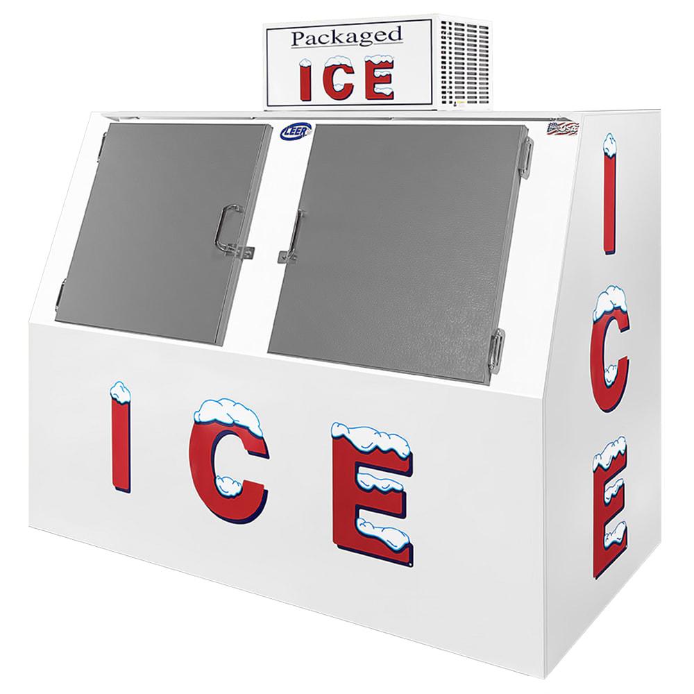 "Leer, Inc. L060SASE 73"" Outdoor Slanted Ice Merchandiser w/ (140) 10 lb Bag Capacity - White, 120v"