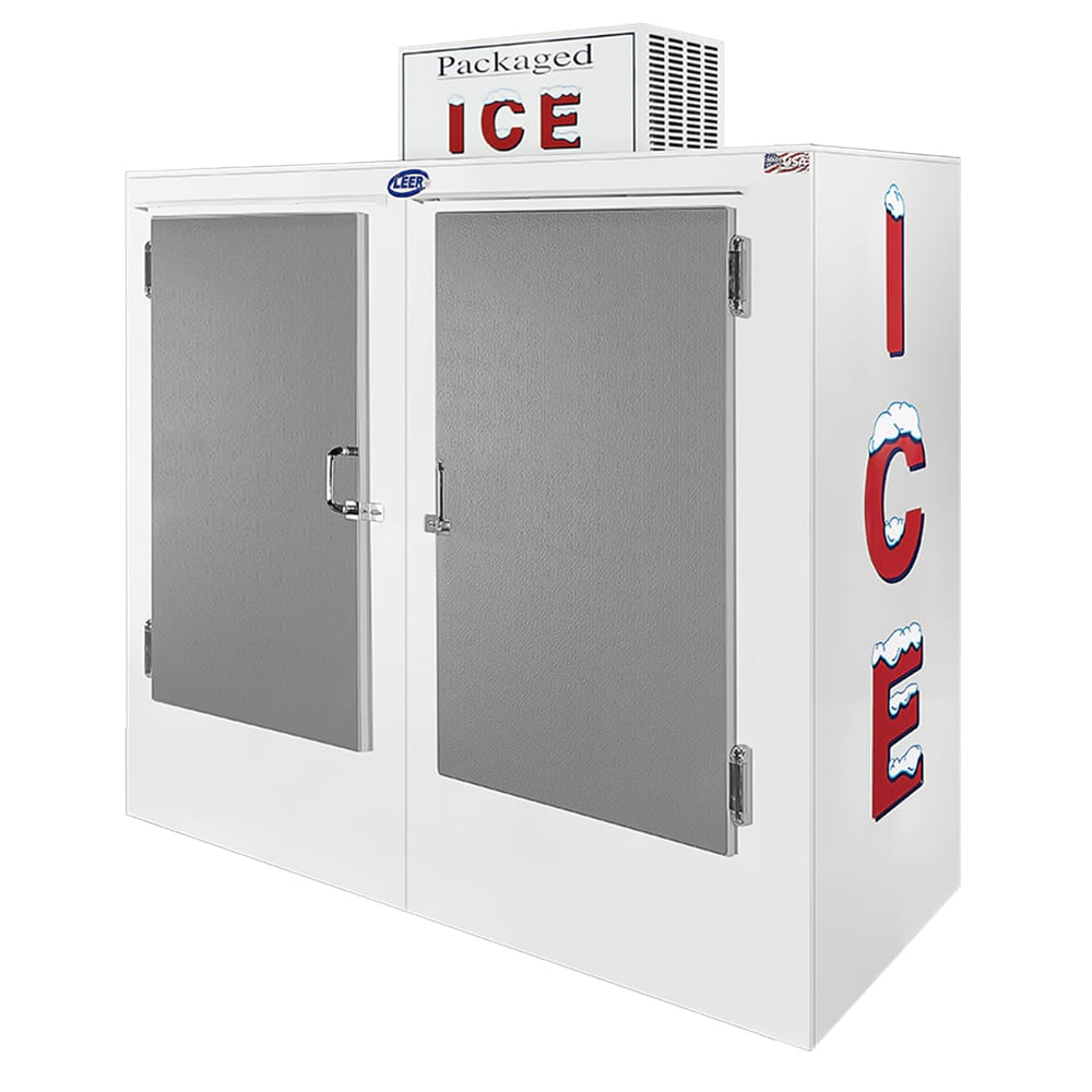 "Leer, Inc. L060UASE 73"" Outdoor Ice Merchandiser w/ (140) 10 lb Bag Capacity - White, 120v"