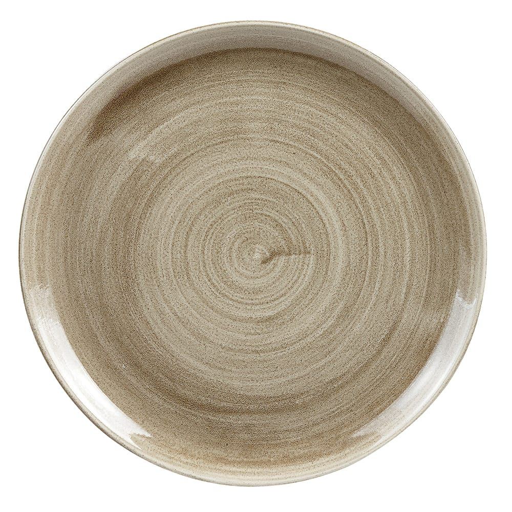 "Churchill PAATEV111 11.25"" Round Patina Plate - Ceramic, Antique Taupe"