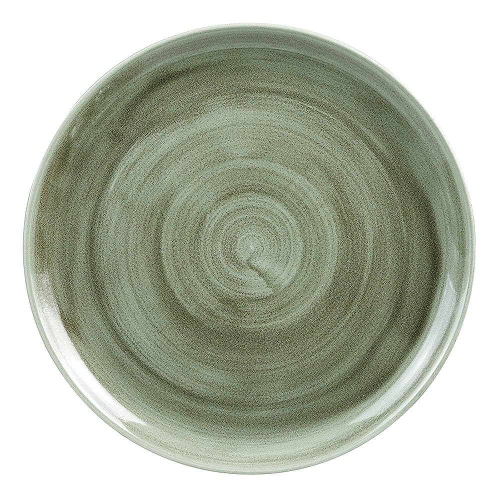 "Churchill PABGEV121 12.75"" Round Patina Plate - Ceramic, Burnished Green"
