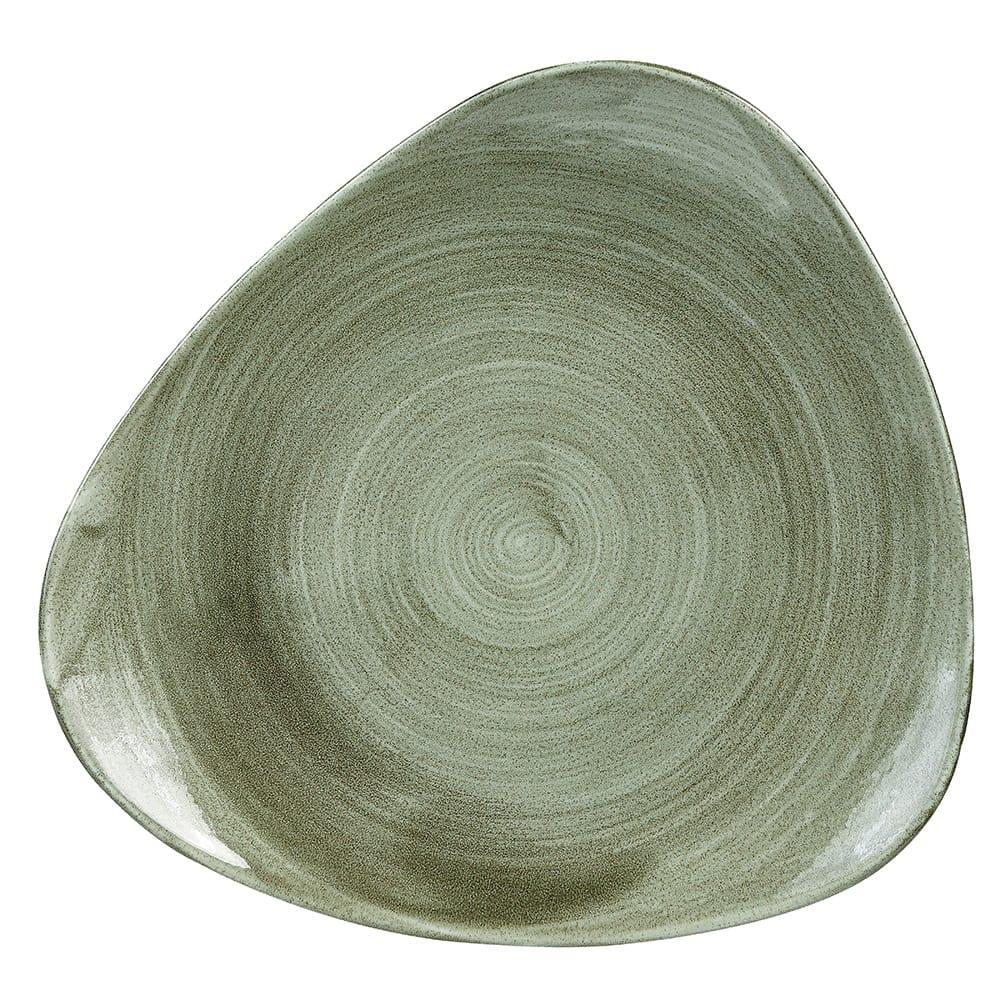 "Churchill PABGTR91 9"" Triangular Patina Plate - Ceramic, Burnished Green"