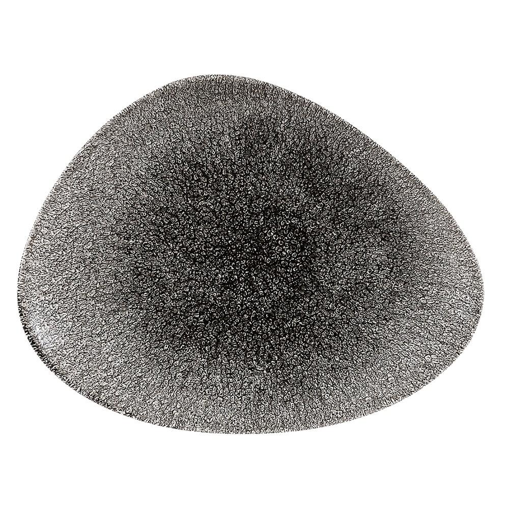 """Churchill RKBQTC361 Triangular Raku Chef's Plate - 14"""" x 9.75"""", Ceramic, Quartz Black"""