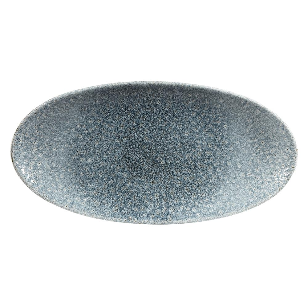 """Churchill RKTBOV301 Oval Raku Chef's Plate - 11.8"""" x 5.75"""", Ceramic, Topaz Blue"""
