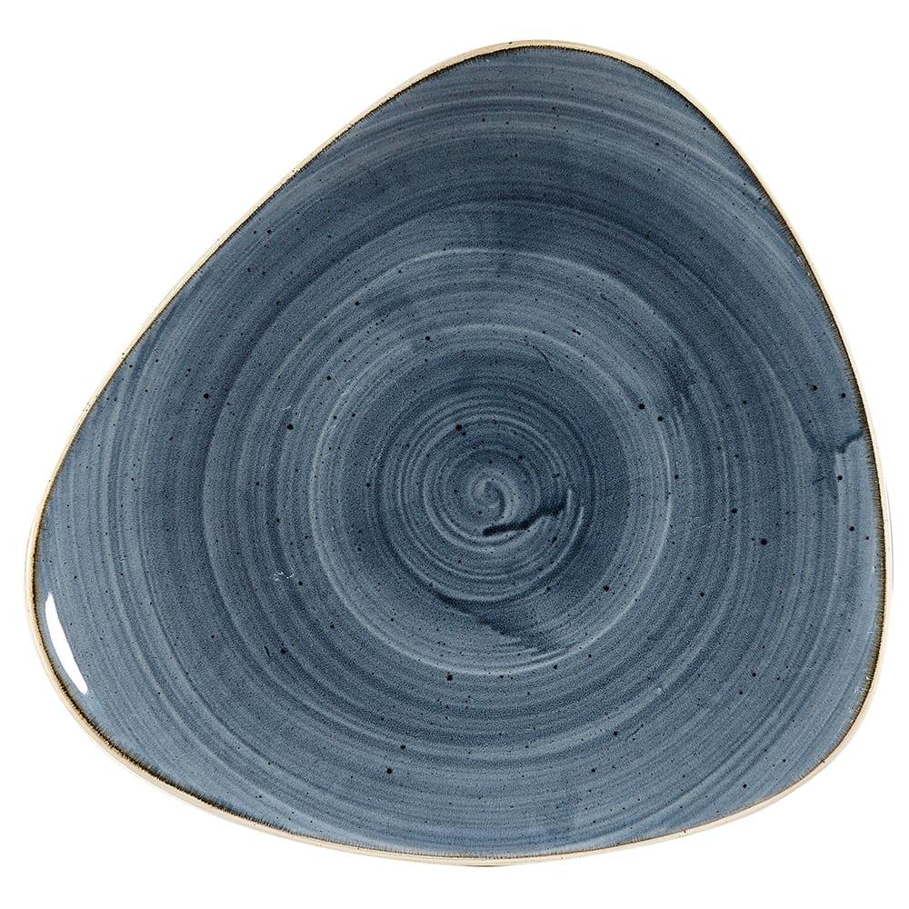 "Churchill SBBSTR101 10.5"" Triangular Stonecast® Lotus Plate - Ceramic, Blueberry"