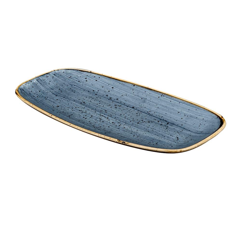"Churchill SBBSXO111 Oblong Stonecast® Chef's Plate - 11.75"" x 6"", Ceramic, Blueberry"