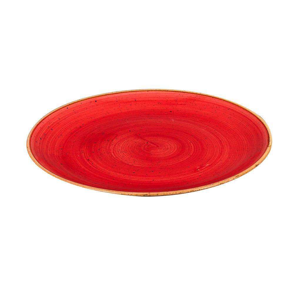 "Churchill SBRSEV101 10.25"" Round Stonecast Plate - Ceramic, Berry Red"