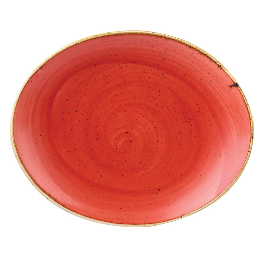"Churchill SBRSOP71 7.75"" Oval Stonecast Plate - Ceramic, Berry Red"
