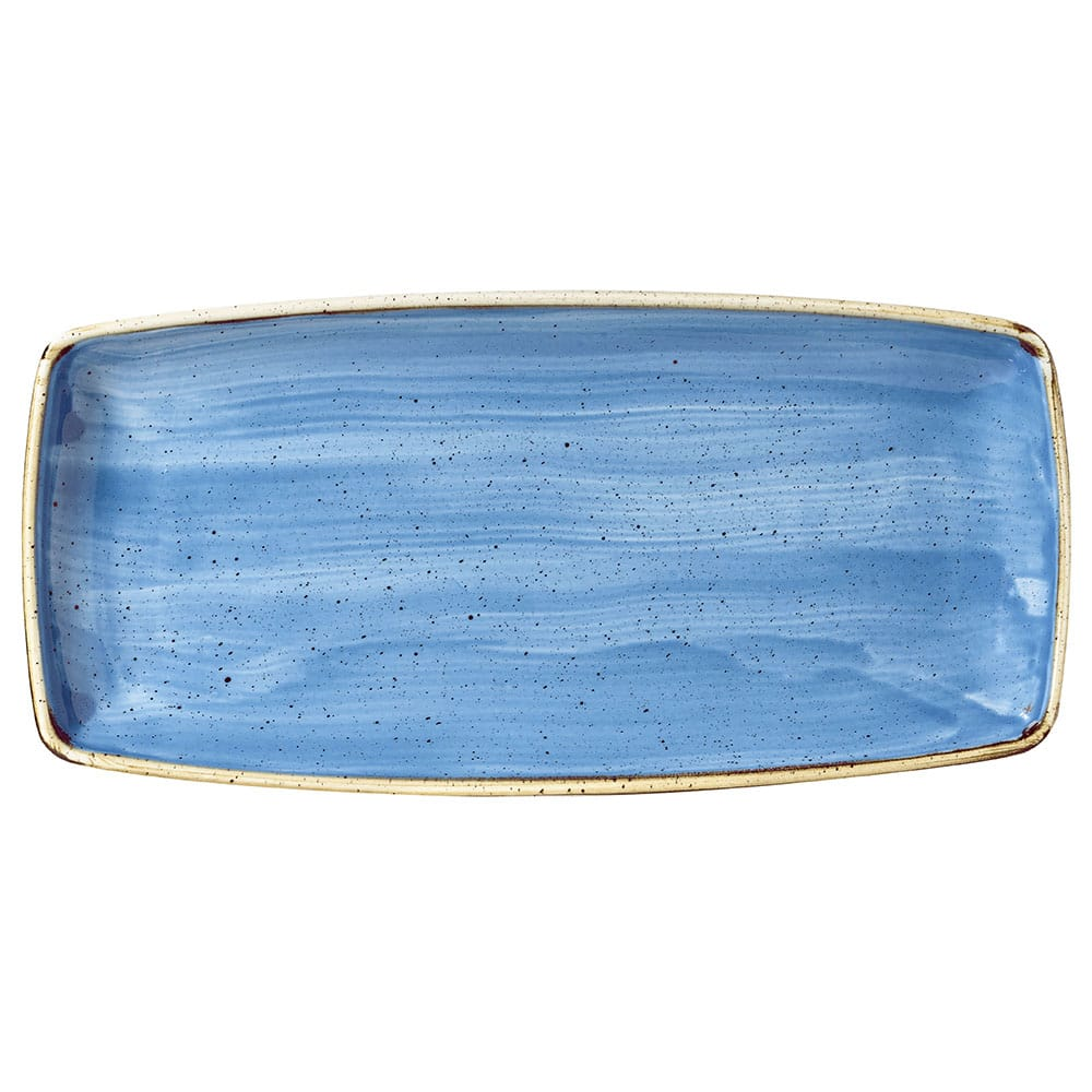 "Churchill SCFSOP111 Rectangular Stonecast Plate - 11.75"" x 6"", Ceramic, Cornflower Blue"