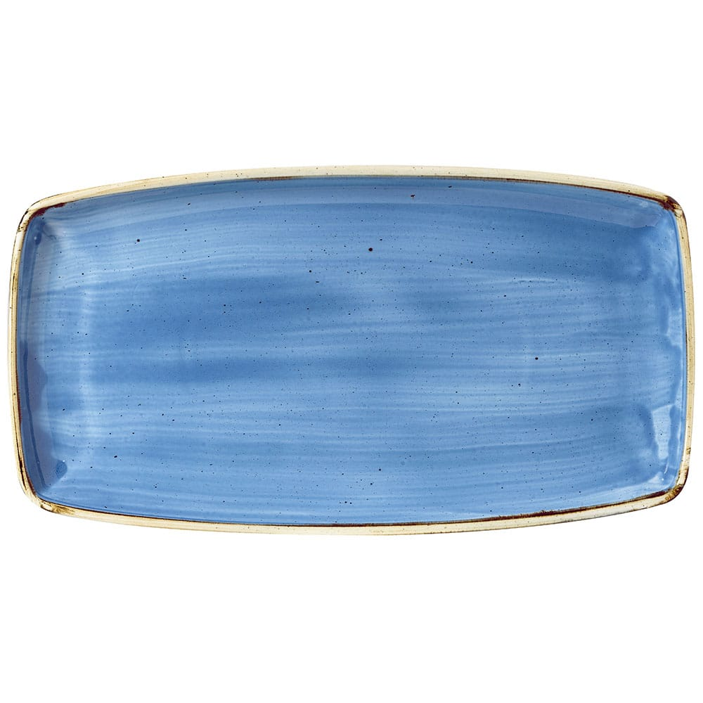 "Churchill SCFSOP141 Rectangular Stonecast Plate - 14"" x 7.25"", Ceramic, Cornflower Blue"