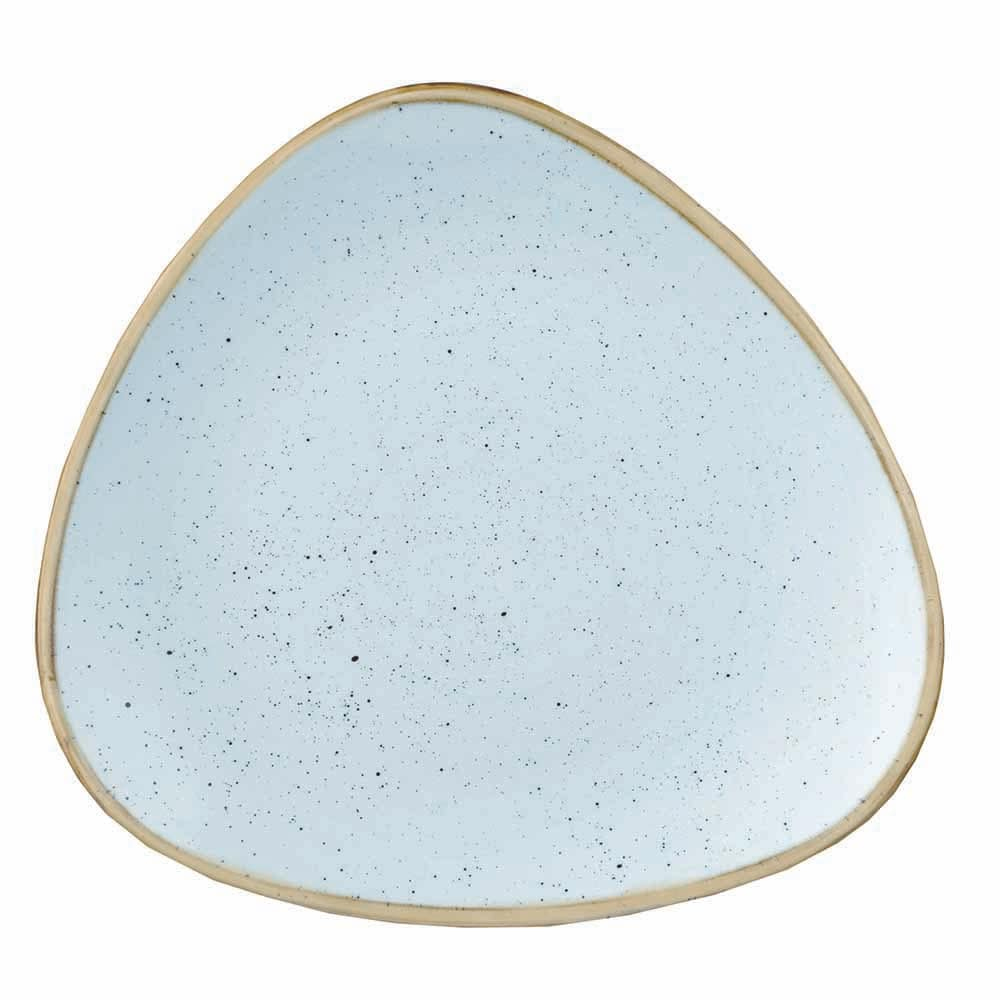 "Churchill SDESTR121 12.25"" Triangular Stonecast Plate - Ceramic, Duck Egg Blue"