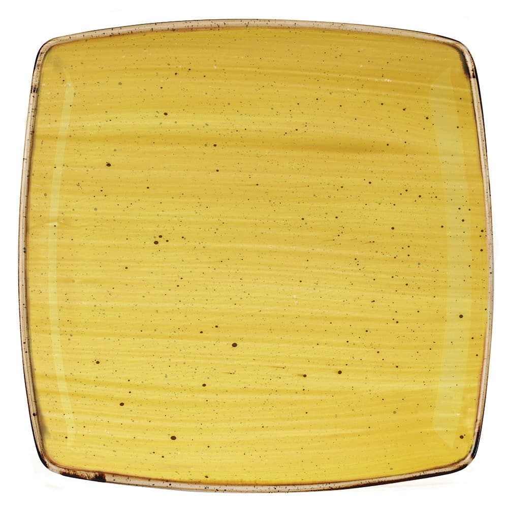 "Churchill SMSSDS101 10.5"" Square Stonecast Plate - Ceramic, Mustard Seed Yellow"