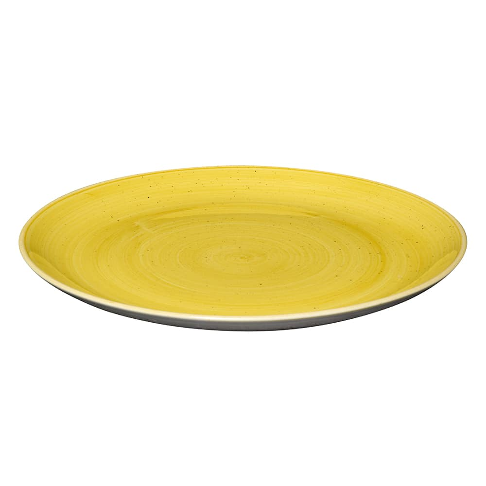 "Churchill SMSSEV111 11.25"" Round Stonecast Plate - Ceramic, Mustard Seed Yellow"