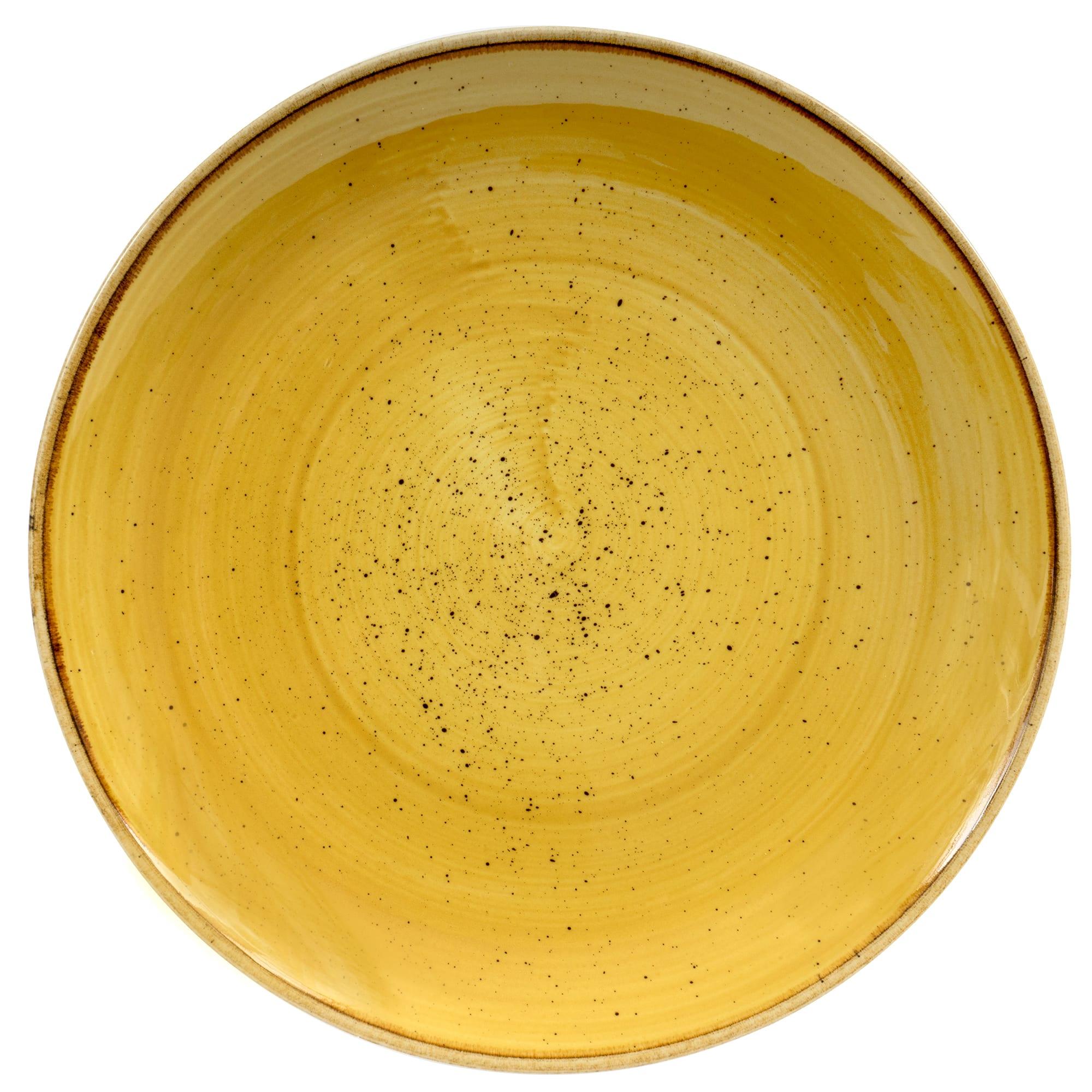 "Churchill SMSSEVP81 8.67"" Round Stonecast Plate - Ceramic, Mustard Seed Yellow"