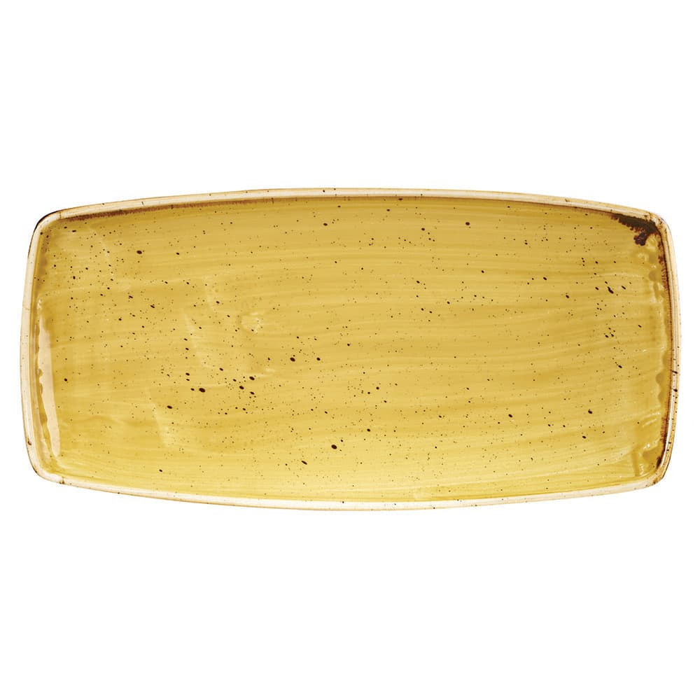 "Churchill SMSSOP111 Rectangular Stonecast Plate - 11.75"" x 6"", Ceramic, Mustard Seed Yellow"