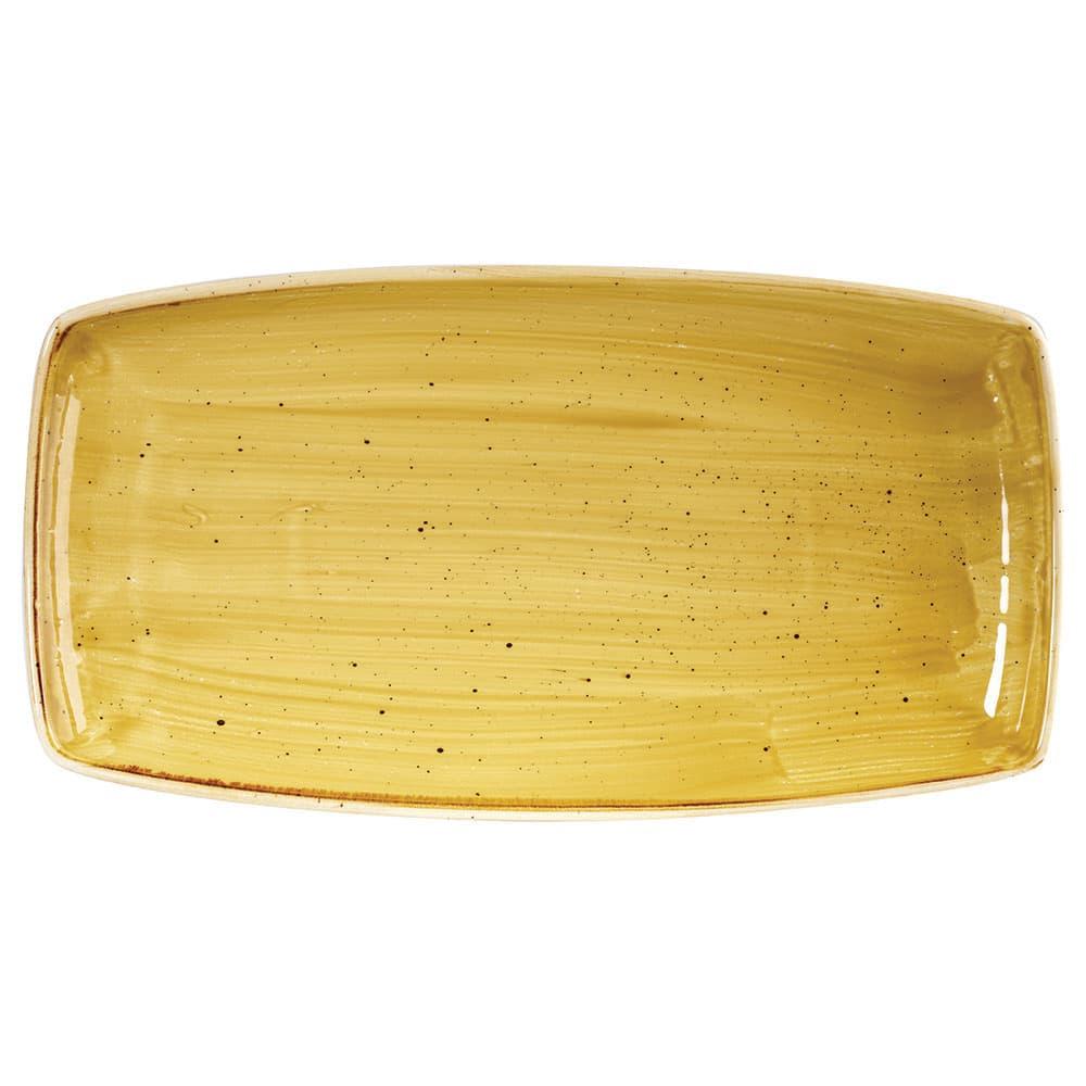"Churchill SMSSOP141 Rectangular Stonecast Plate - 14"" x 7.25"", Ceramic, Mustard Seed Yellow"