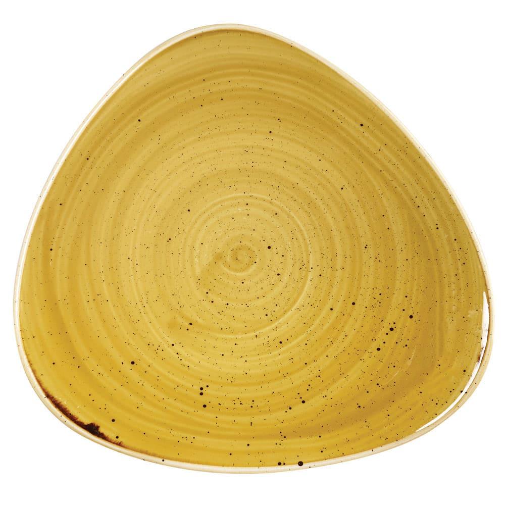 "Churchill SMSSTR71 7.75"" Triangular Stonecast Plate - Ceramic, Mustard Seed Yellow"