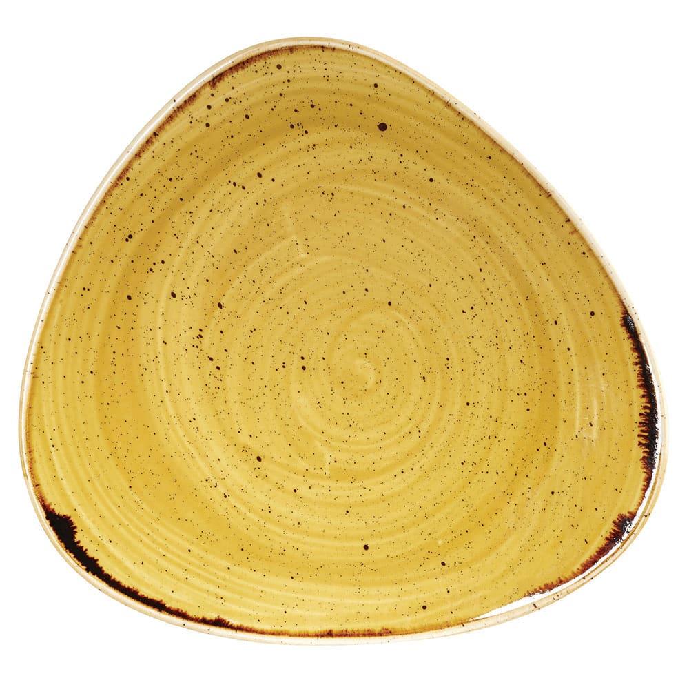 "Churchill SMSSTR91 9"" Triangular Stonecast Plate - Ceramic, Mustard Seed Yellow"