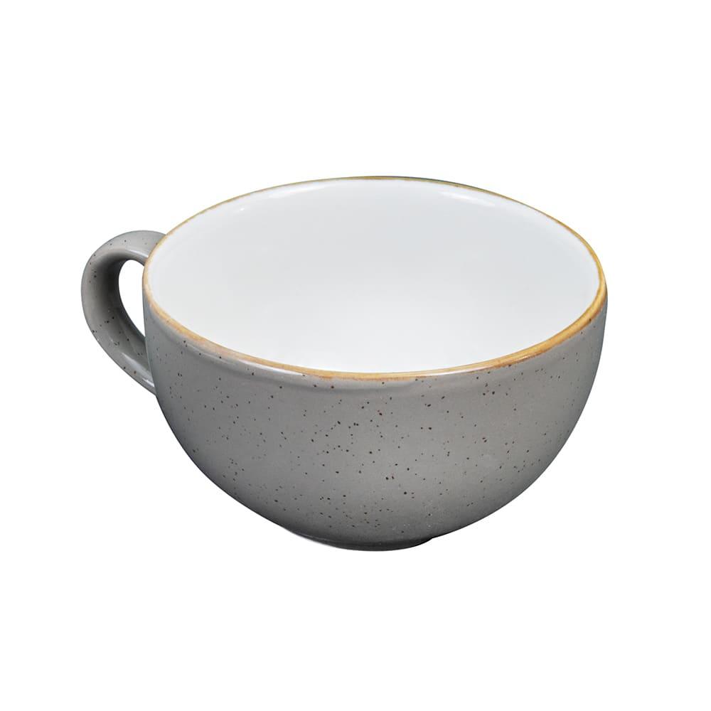 Churchill SPGSCB201 8 oz Stonecast Cappuccino Cup - Ceramic, Peppercorn Gray