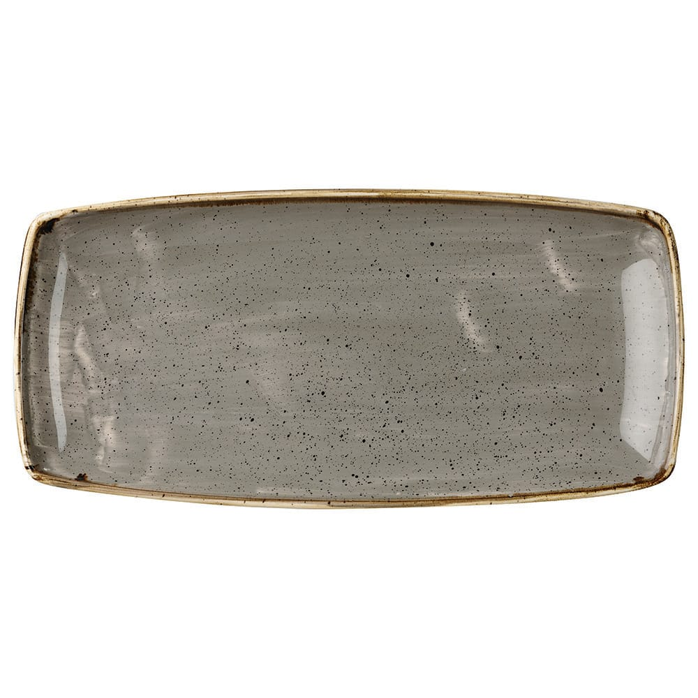 "Churchill SPGSOP111 Rectangular Stonecast Plate - 11.75"" x 6"", Ceramic, Peppercorn Gray"
