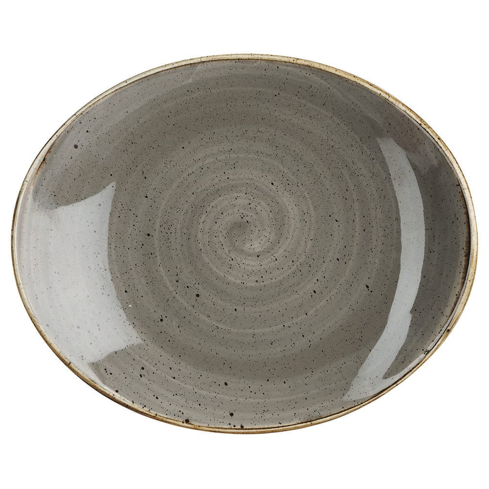 "Churchill SPGSOP71 Rectangular Stonecast Plate - 7.75"" x 6.31"", Ceramic, Peppercorn Gray"
