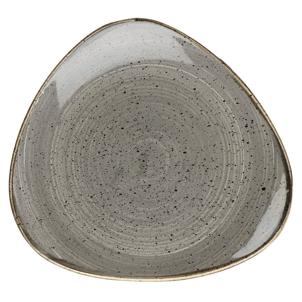 "Churchill SPGSTR71 7.75"" Triangular Stonecast Plate - Ceramic, Peppercorn Gray"