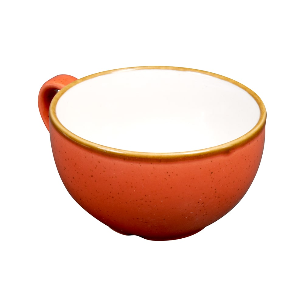 Churchill SSOSCB201 8-oz Stonecast Cappuccino Cup - Ceramic, Spiced Orange