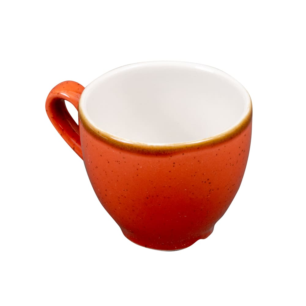 Churchill SSOSCEB91 3.5 oz Stonecast Espresso Cup - Ceramic, Spiced Orange