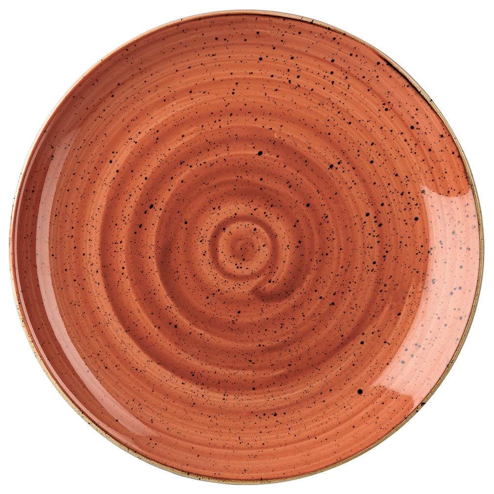 "Churchill SSOSEV101 10.25"" Round Stonecast Plate - Ceramic, Spiced Orange"