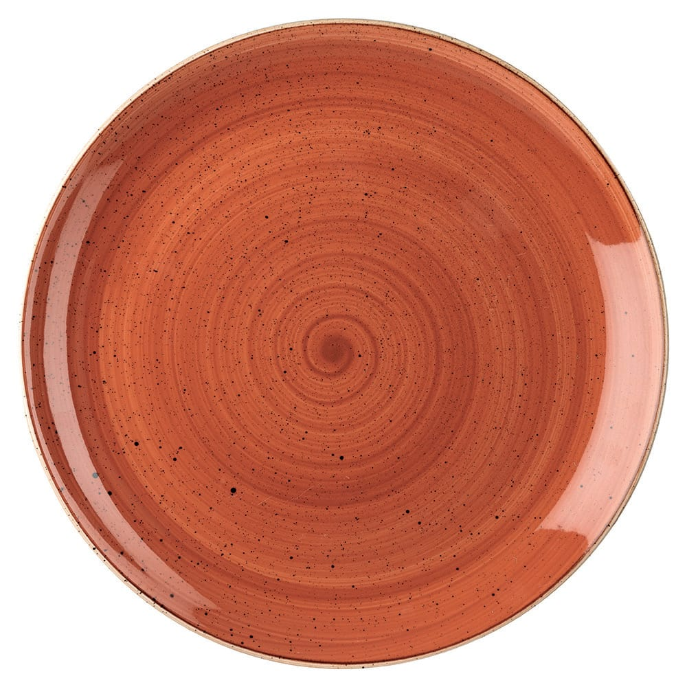 "Churchill SSOSEV121 12.75"" Round Stonecast Plate - Ceramic, Spiced Orange"
