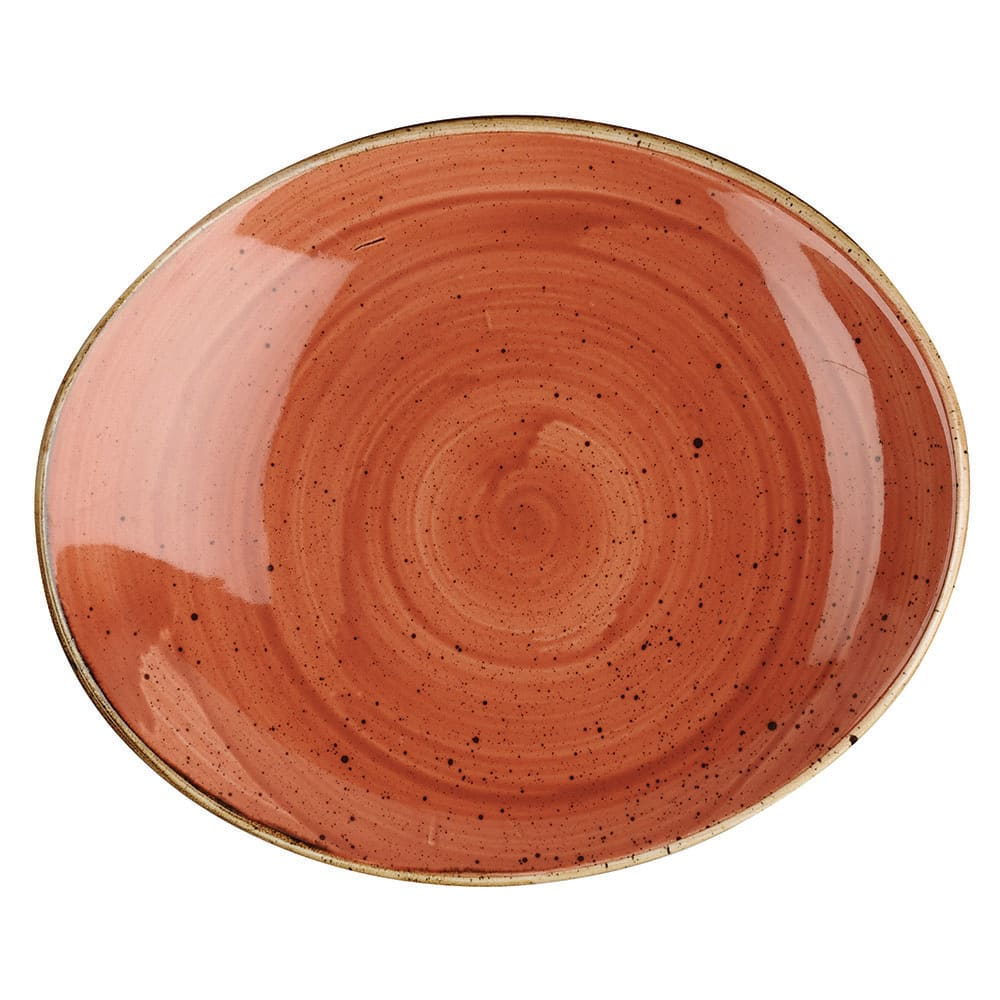 "Churchill SSOSOP71 7.75"" Oval Stonecast Plate - Ceramic, Spiced Orange"