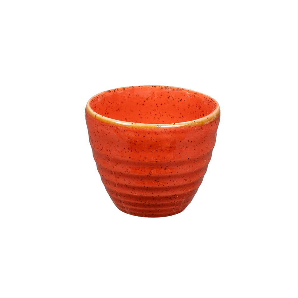 Churchill SSOSRPD21 2-oz Stonecast Ripple Dipper Pot - Ceramic, Spiced Orange