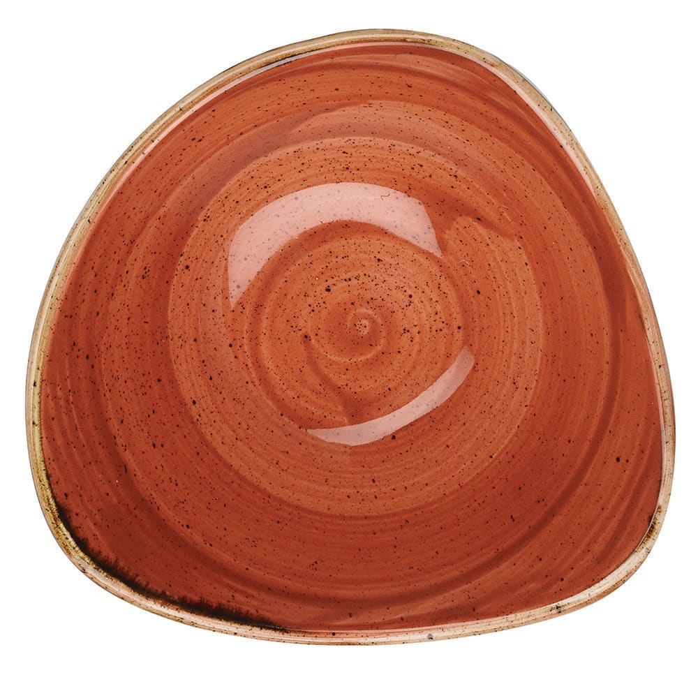 Churchill SSOSTRB61 9-oz Triangular Stonecast Bowl - Ceramic, Spiced Orange
