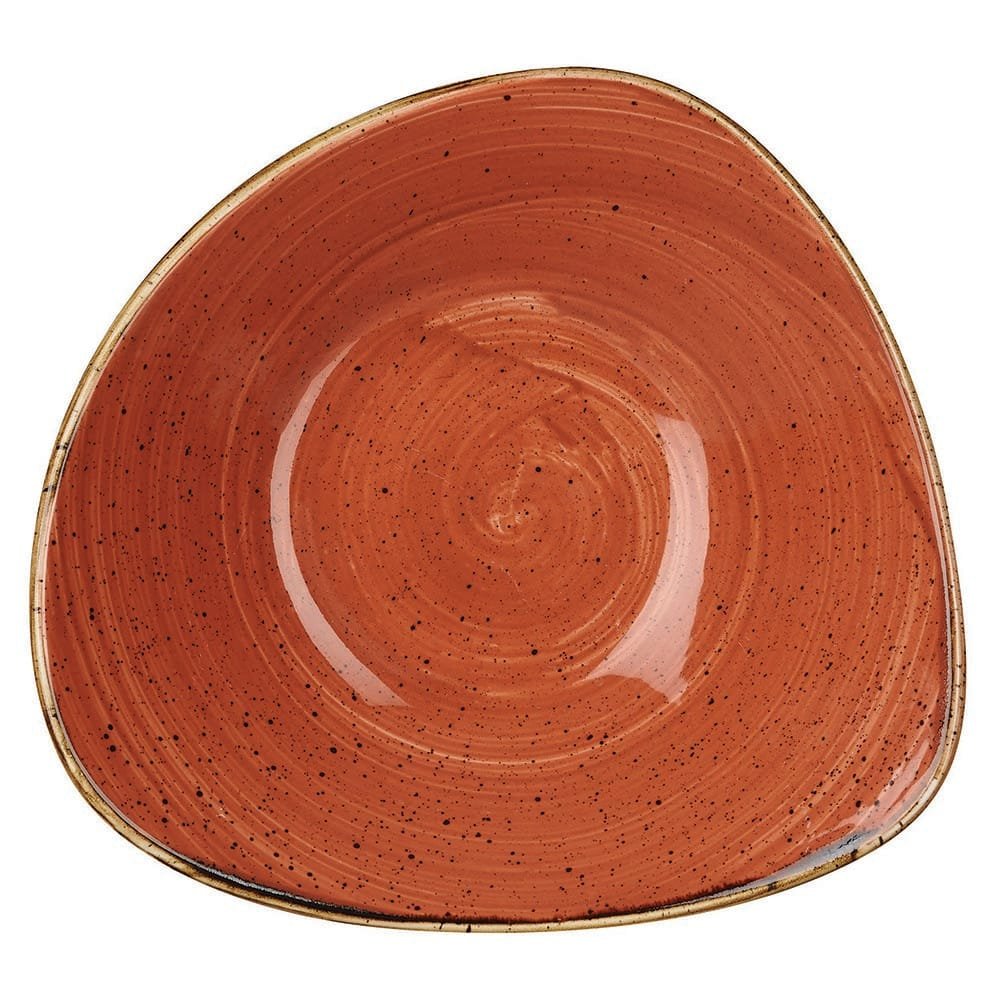 Churchill SSOSTRB71 13-oz Triangular Stonecast Bowl - Ceramic, Spiced Orange