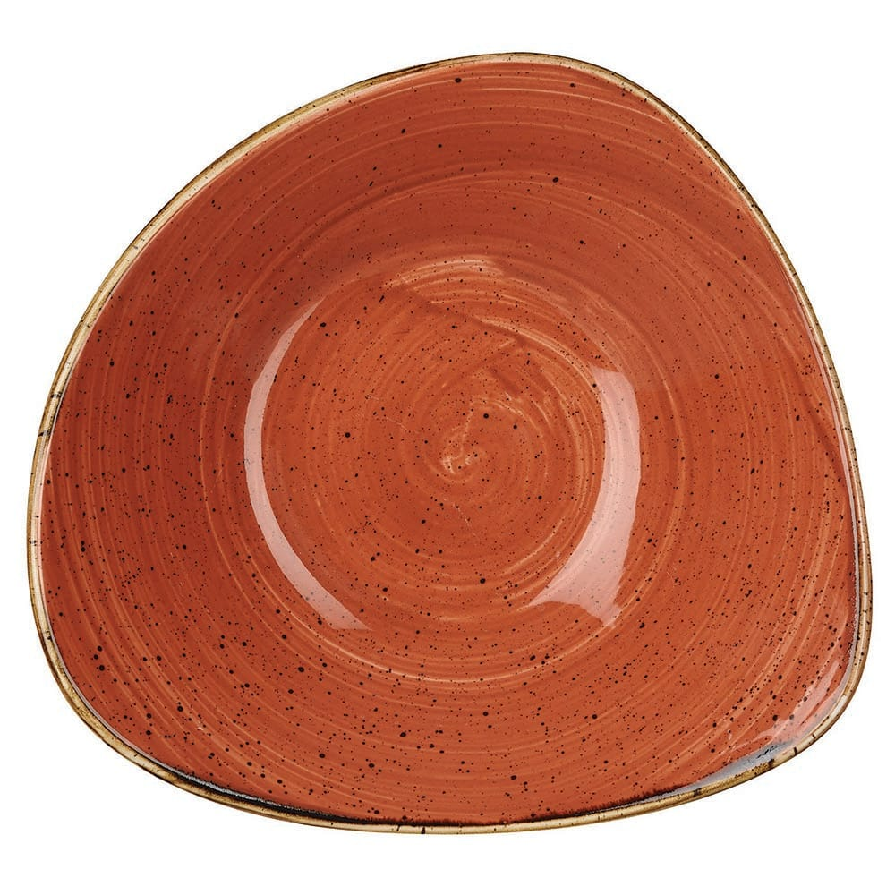 Churchill SSOSTRB91 21-oz Triangular Stonecast Bowl - Ceramic, Spiced Orange