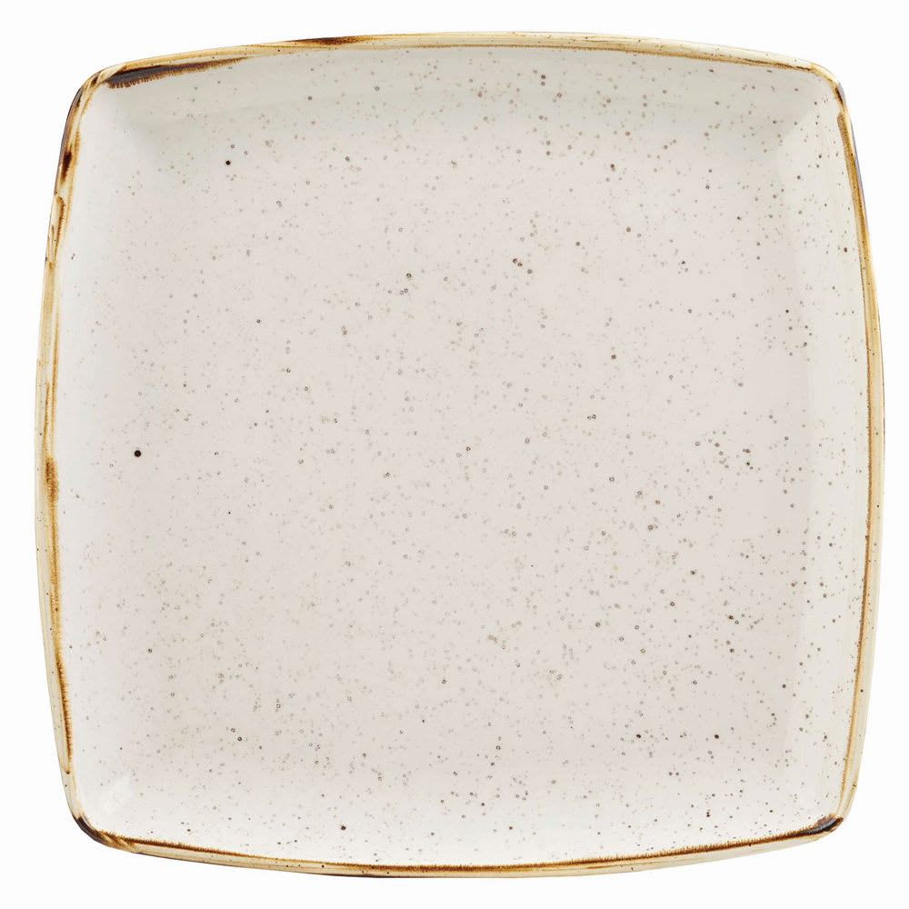 "Churchill SWHSDS101 10.5"" Square Stonecast Plate - Ceramic, Barley White"