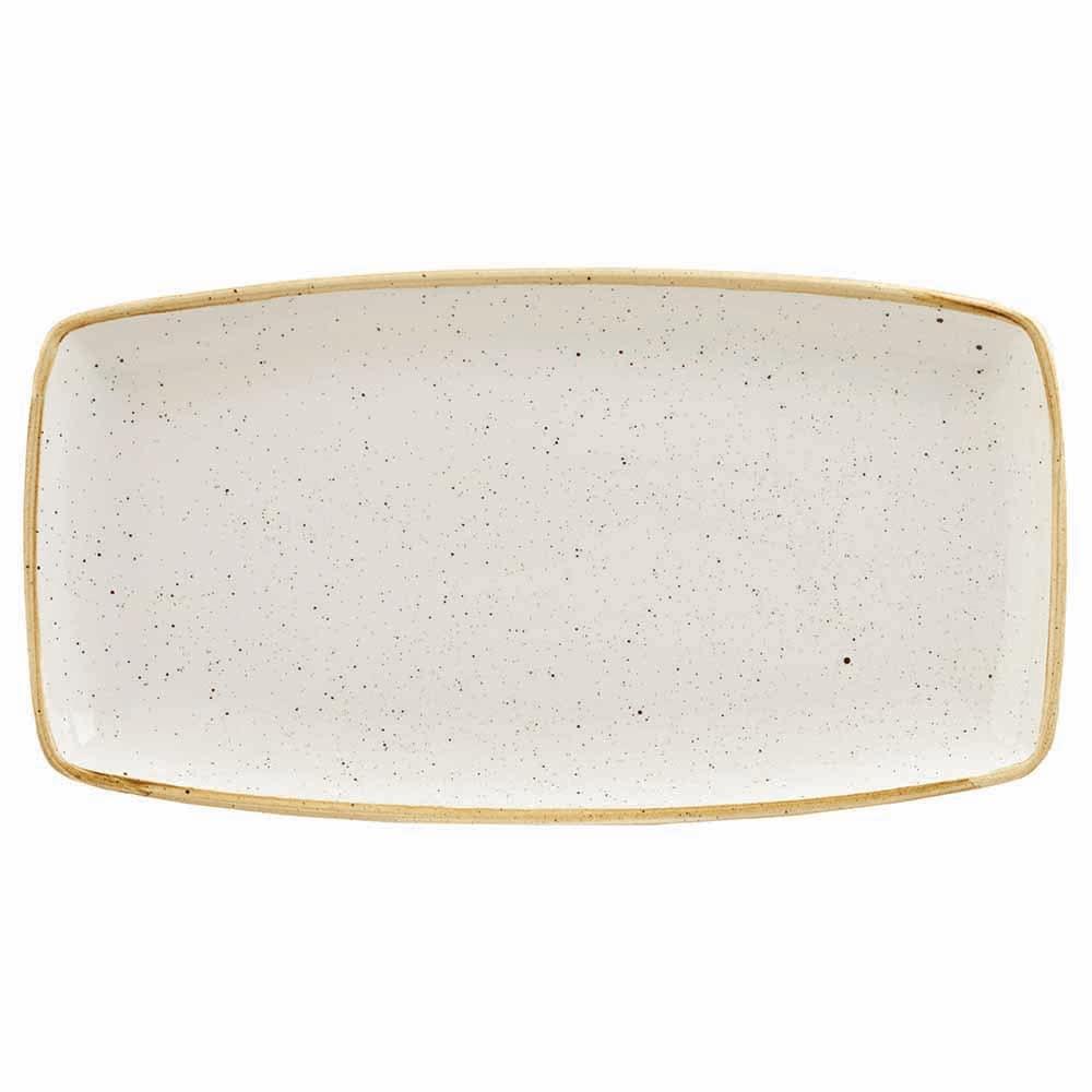"""Churchill SWHSOP141 Rectangular Stonecast Plate - 14"""" x 7.25"""", Ceramic, Barley White"""